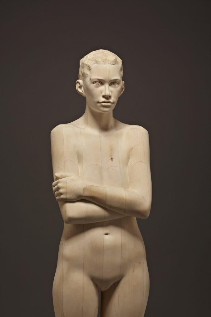 "Mario Dilitz, ""below my feet"", 2014, Lindenholz, 178 x 40 x 30 cm,"