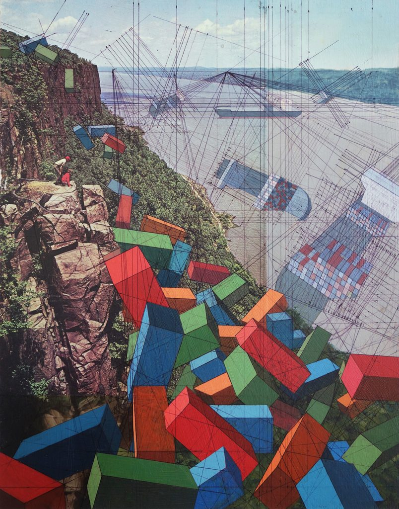 Overlook acrylic ink magazine photo on panel 11 x 14 inches 2015 copymd